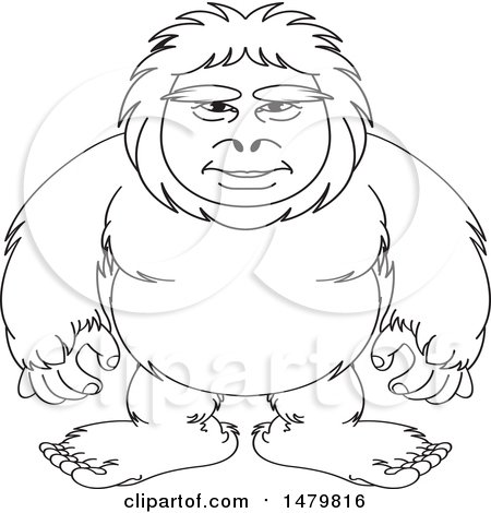 Clipart of a Black and White Sasquatch - Royalty Free Vector Illustration by Lal Perera