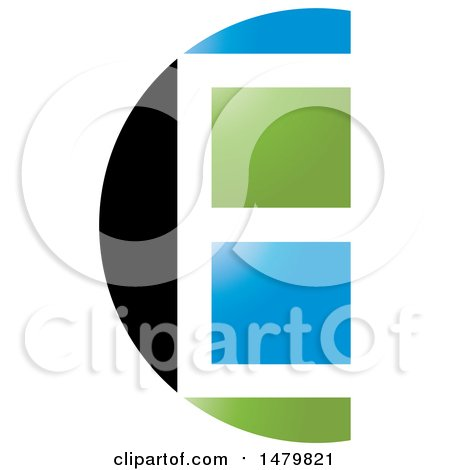 Clipart of a Black White Blue and Green Window Abstract Letter E Design - Royalty Free Vector Illustration by Lal Perera