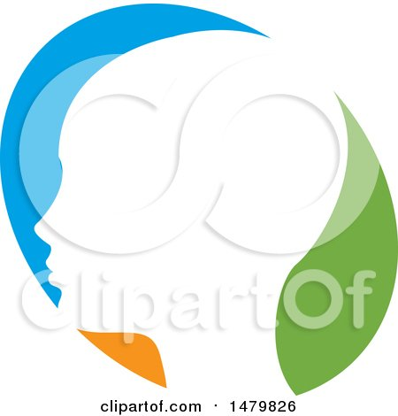 Clipart of a White Profiled Head over a Blue Orange and Green Oval - Royalty Free Vector Illustration by Lal Perera