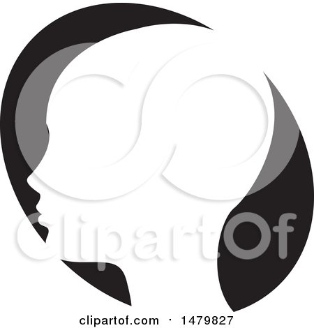 Clipart of a White Profiled Head over a Black Oval - Royalty Free Vector Illustration by Lal Perera