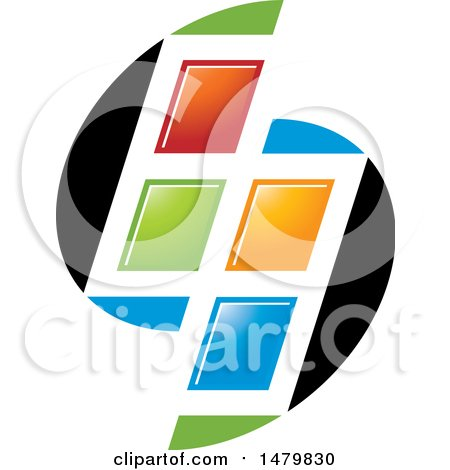 Clipart of a Colorful Split Window Design - Royalty Free Vector Illustration by Lal Perera