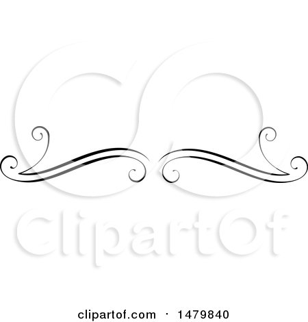 Clipart of a Vintage Calligraphic Open Book Design Element - Royalty Free Vector Illustration by Frisko