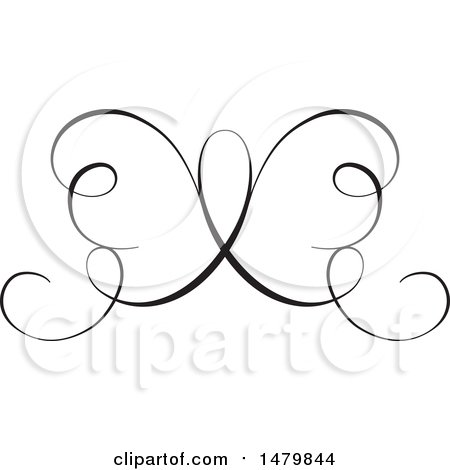 Clipart of a Vintage Calligraphic Butterfly Design Element - Royalty Free Vector Illustration by Frisko