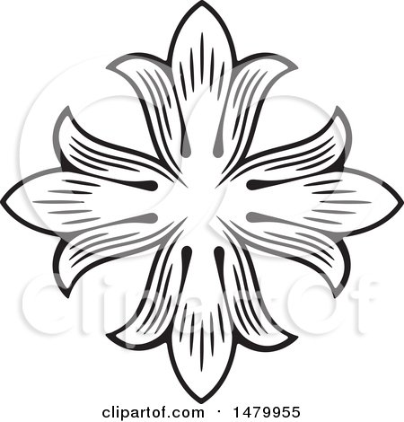 Clipart of a Vintage Floral Design Element - Royalty Free Vector Illustration by Frisko