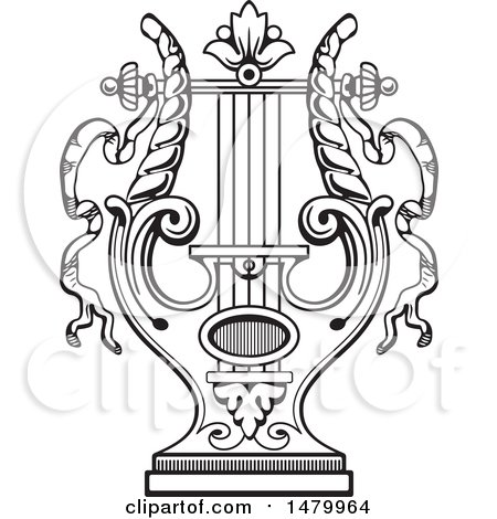 Clipart of a Vintage Lyre - Royalty Free Vector Illustration by Frisko