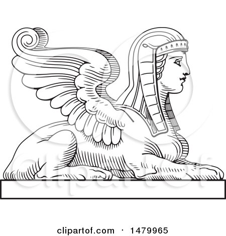 Clipart of a Vintage Egyptian Sphinx - Royalty Free Vector Illustration by Frisko