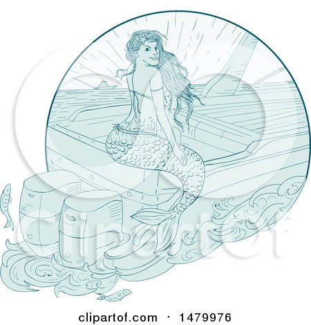 Clipart of a Sketched Siren Mermaid Sitting on a Boat - Royalty Free Vector Illustration by patrimonio