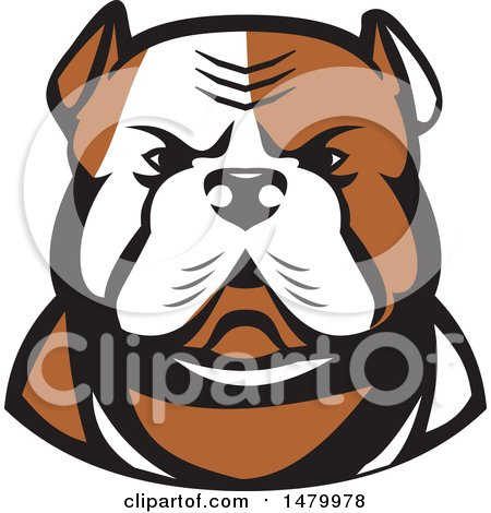Clipart of a Tough American Bulldog Head in Tan and White - Royalty Free Vector Illustration by patrimonio