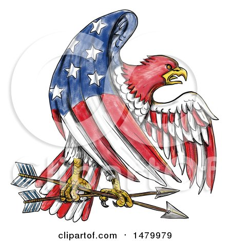 Clipart of a Bald Eagle in an American Flag Pattern, Grasping Arrows, on a White Background - Royalty Free Illustration by patrimonio