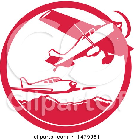 Clipart of Fixed Wing Aircraft Against Mountains in a Red and White Circle - Royalty Free Vector Illustration by patrimonio