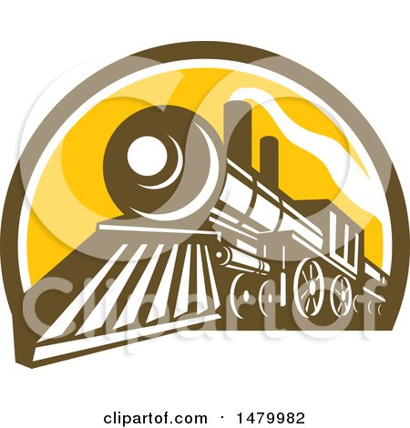 Clipart of a Steam Train in a Brown White and Yellow Half Circle - Royalty Free Vector Illustration by patrimonio