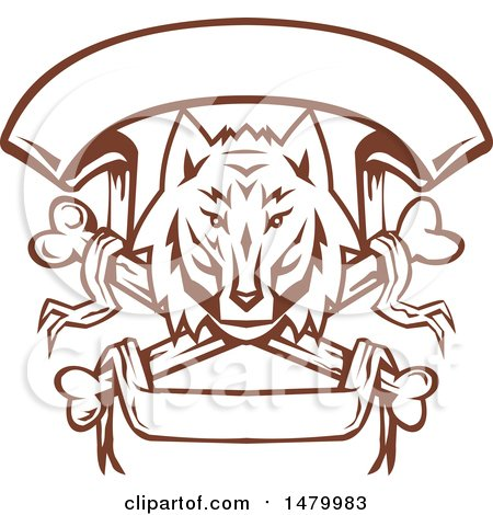 Clipart of a Browna Nd White Wolf Head over Cross Bones and Banners - Royalty Free Vector Illustration by patrimonio