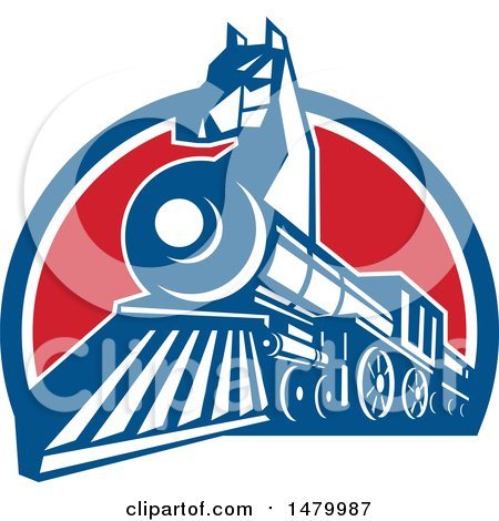 Clipart of a Iron Horse Headed Train in a Red White and Blue Half Circle - Royalty Free Vector Illustration by patrimonio