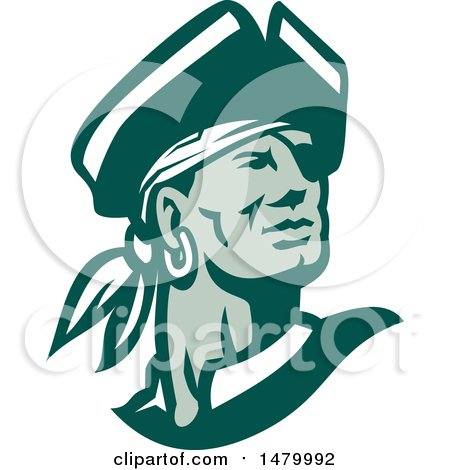 Clipart of a Green and White Pirate Captain Looking off to the Side - Royalty Free Vector Illustration by patrimonio