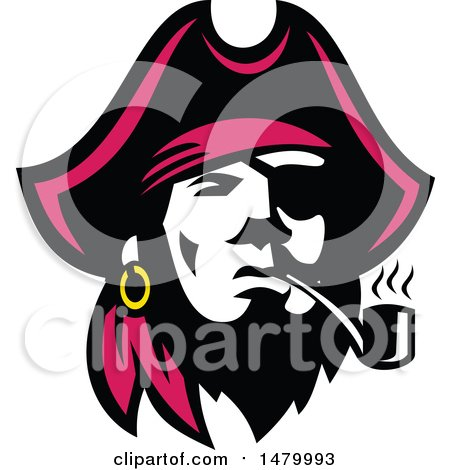 Clipart of a Pirate Captain Smoking a Pipe - Royalty Free Vector Illustration by patrimonio