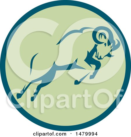 Clipart of a Charging Ram in a Teal and Green Circle - Royalty Free Vector Illustration by patrimonio