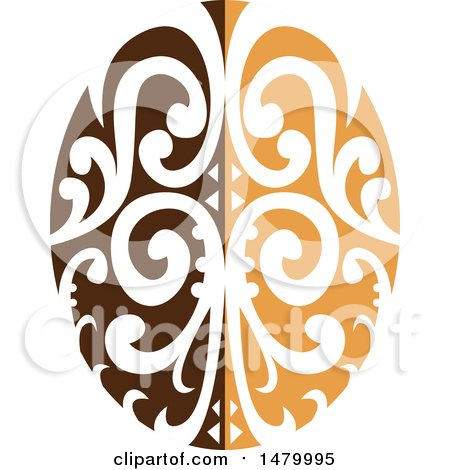Clipart of a Fancy Two Toned Brown Coffee Bean with a Maori Motiff - Royalty Free Vector Illustration by patrimonio