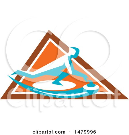 Clipart of a Curling Player Sliding a Stone Inside an Orange Triangle - Royalty Free Vector Illustration by patrimonio