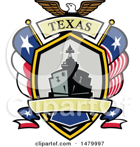 Clipart of a Retro Bald Eagle Crest with a Battle Ship, State and Texas Navy Flags Flags - Royalty Free Vector Illustration by patrimonio