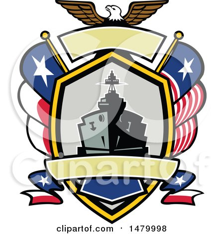 Clipart of a Retro Bald Eagle Crest with a Battle Ship, State and Texas Navy Flags - Royalty Free Vector Illustration by patrimonio