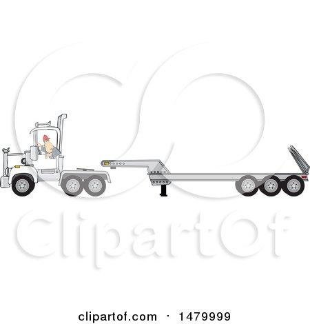 Clipart of a Trucker Backing up a Tracter to a Low Boy Trailer - Royalty Free Vector Illustration by djart
