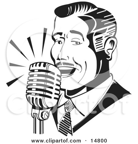 Man Singing or Announcing Into a Microphone Clipart Illustration by Andy Nortnik