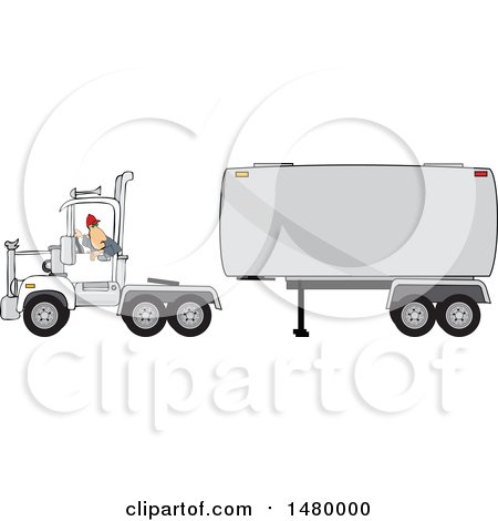 Clipart of a Trucker Backing up a Tracter to a Tanker - Royalty Free Vector Illustration by djart