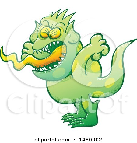 Clipart of a Spotted Green Monster Screaming - Royalty Free Vector Illustration by Zooco