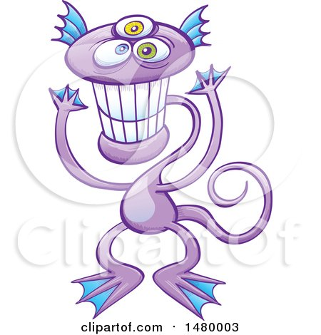 Clipart of a Happy Purple Monster Grinning - Royalty Free Vector Illustration by Zooco