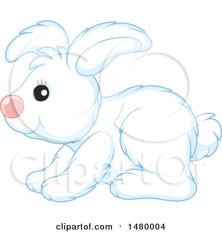 Clipart of a Cute White Bunny Rabbit in Profile - Royalty Free Vector Illustration by Alex Bannykh