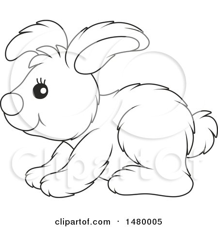 Clipart Of A Black And White Cute Bunny Rabbit In Profile