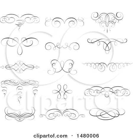 Clipart of Vintage Calligraphic Design Elements - Royalty Free Vector Illustration by Frisko