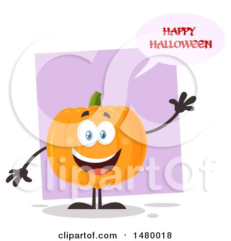 Clipart Of A Happy Pumpkin Character Mascot Waving And Saying Happy  Halloween   Royalty Free Vector Illustration By Hit Toon