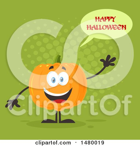 Clipart Of A Happy Pumpkin Character Mascot Waving And Saying Happy  Halloween On Green   Royalty Free Vector Illustration By Hit Toon