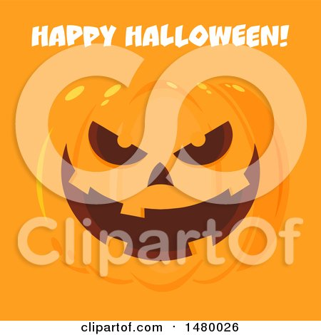 Clipart of a Grinning Evil Jackolantern Pumpkin with Happy Halloween Text on Orange - Royalty Free Vector Illustration by Hit Toon