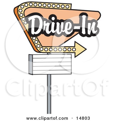 Vintage Tan Drive In Sign With An Arrow Clipart Illustration