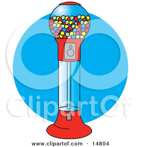 Gumball Vending Machine Full Of Colorful Balls Of Chewing Gum Clipart Illustration