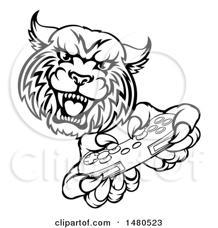 Clipart of a Black and White Bobcat Mascot Playing a Video Game - Royalty Free Vector Illustration by AtStockIllustration