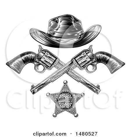 808946d6580 Clipart of a Cowboy Hat over Crossed Guns and a Sheriff Badge in Black and  White