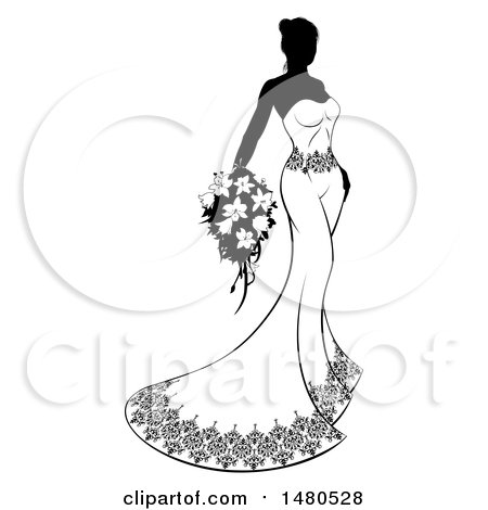 Clipart of a Silhouetted Black and White Bride with Flowers - Royalty Free Vector Illustration by AtStockIllustration