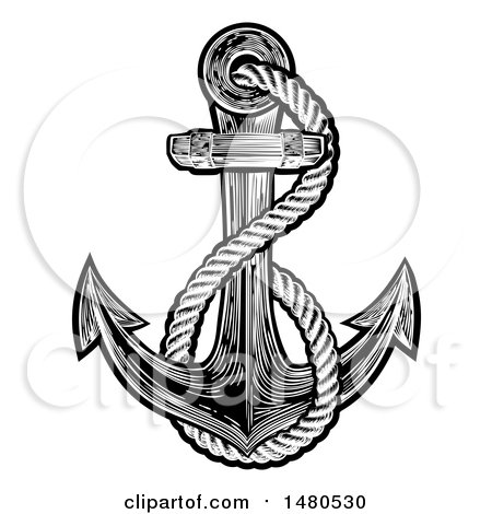 Clipart of a Black and White Anchor with Rope in Tattoo Style - Royalty Free Vector Illustration by AtStockIllustration