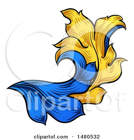 Clipart of a Blue and Yellow Ornate Vintage Heraldry Floral Design Element - Royalty Free Vector Illustration by AtStockIllustration