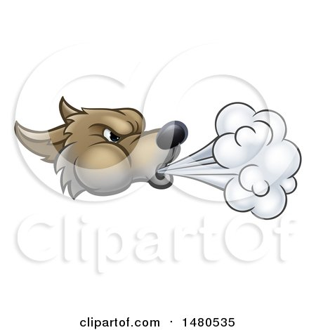 Clipart of a Big Bad Wolf Head Blowing - Royalty Free Vector Illustration by AtStockIllustration