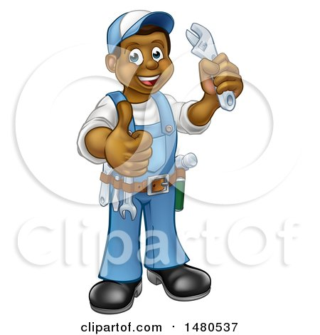 Clipart of a Cartoon Full Length Black Male Plumber Holding an Adjustable Wrench and Giving a Thumb up - Royalty Free Vector Illustration by AtStockIllustration