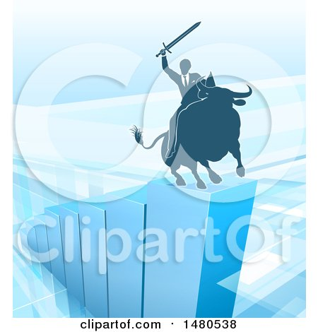 Clipart of a Silhouetted Business Man Holding a Sword and Riding a Stock Market Bull on a Blue Bar Graph - Royalty Free Vector Illustration by AtStockIllustration