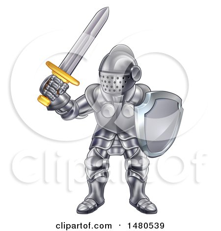 Clipart of a Fully Armored Knight Holding a Sword and Shield - Royalty Free Vector Illustration by AtStockIllustration