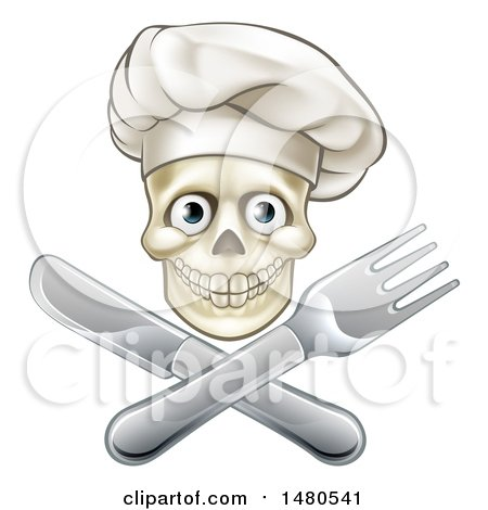 Clipart of a Chef Human Skull over a Crossed Knife and Fork - Royalty Free Vector Illustration by AtStockIllustration