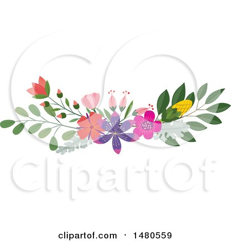 Clipart of a Floral Bouquet Border Design Element - Royalty Free Vector Illustration by Cherie Reve