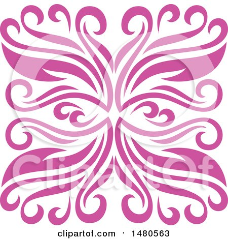 Clipart of a Pink Decorative Design Element - Royalty Free Vector Illustration by Cherie Reve