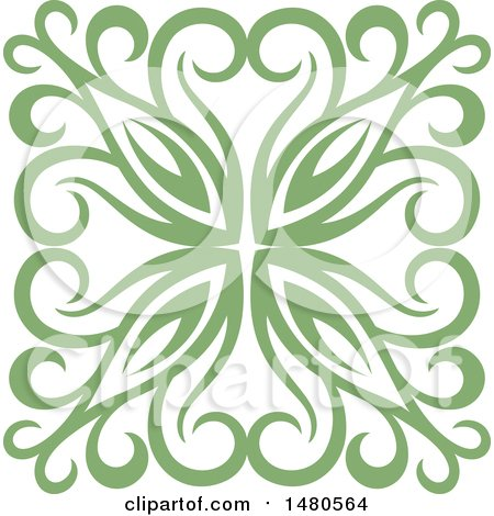 Clipart of a Green Decorative Design Element - Royalty Free Vector Illustration by Cherie Reve